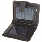 Portable Folding Solar Powered 1800mAh Battery w/ Charging Adapters for Cell Phone + More - Black