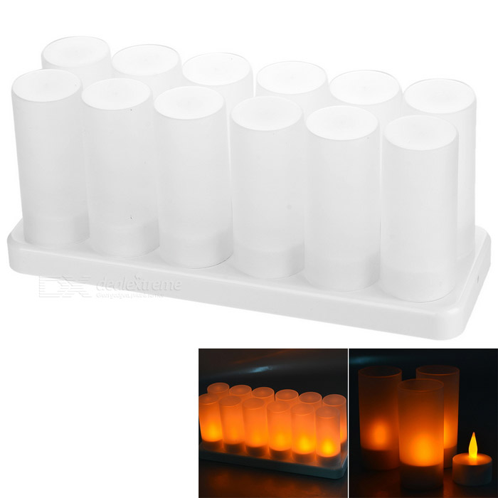 LED Tea-Light Rechargeable Candle Lamp with Glasses Kit (12-Pack)