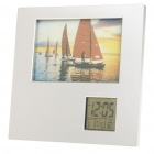 5.8&quot; Photo Frame w/ 2.3&quot; LCD Clock/Date/Thermometer - Silver (2 x AAA)