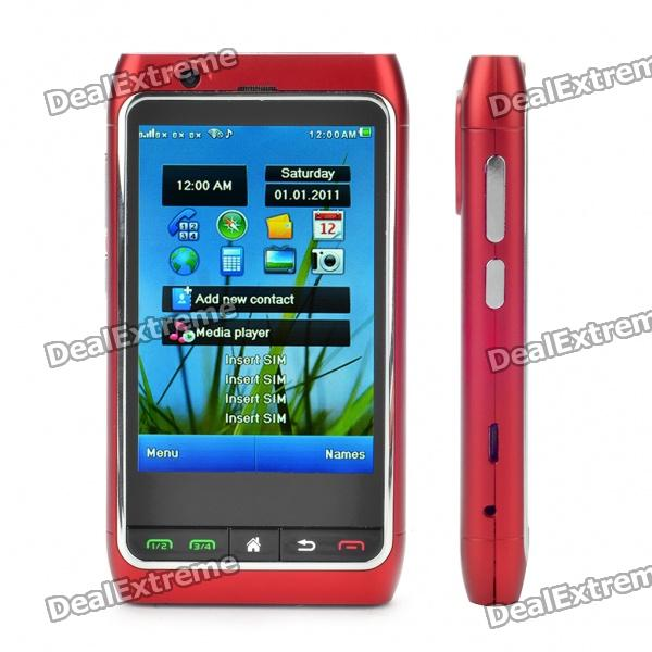 "FN8 3.3"" Touch Screen Quad SIM Quad Network Standby Quadband GSM TV Cell Phone w/ Wi-Fi/GPS - Red"