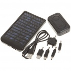 Portable Solar/AC/USB Powered 2600mAh Battery w/ Charging Adapters - Black