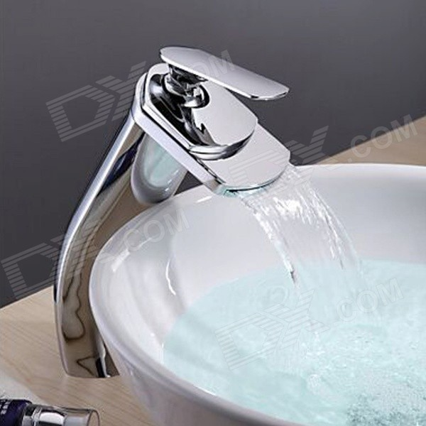 Modern Brass Waterfall Faucet (Tall) frap new bathroom combination basin faucet shower tap single handle cold and hot water mixer with slide bar torneira f2823