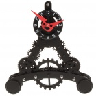 Cool Triangular Tower Style Gear Mechanical Clock - Black
