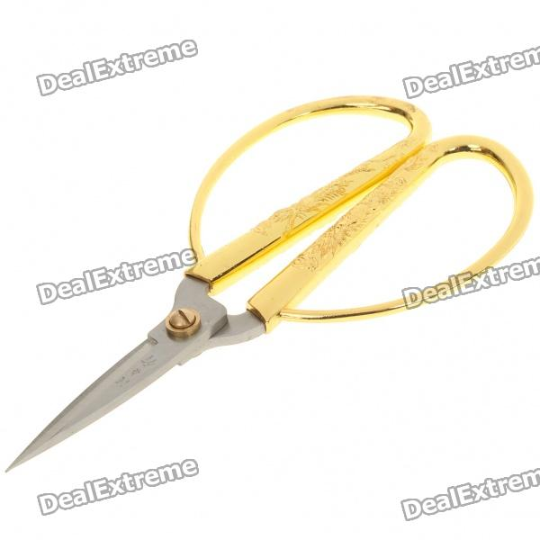 Durable Stainless Steel Scissors - Golden + Silver rimei 3013 handy durable stainless steel nailclippers w grinding pad silver