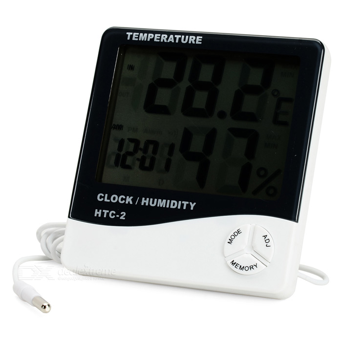 3.9 LCD Indoor/Outdoor Digital Thermometer/Humidity Meter w/ Clock (1 x AAA) indoor air quality pm2 5 monitor meter temperature rh humidity