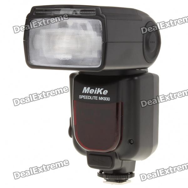 MEIKE MK930 Flash Speedlite Speedlight for Canon DSLR (4 x AA)Lighting &amp; Flash<br>Model: MK 930 - Color: Black - Plastic material housing - Built-in diffusing board and reflector in the lamp head easy to use - With external battery case slot - Zooming: Power zoom - Focal distance: 24/28/35/50/70/85/105mm - Flash Model: MS1S2 - Flash control: 8 levels of output control (1/128-1/1) - Vertical rotation angle: 0-90 degrees - Horizontal rotation angle: 0-270 degrees - Guide Number: 58 meters (ISO 100105mm) - Color temperature: 5600K - Flash time: 1/200s-1/20000s - Interface: hotshoe PC port and eternal charging port - Wireless triggering distance: 20-30m indoor10-15m outdoor - Power supply: 4 x AA batteries(Alkaline or Ni-MH) - Working voltage: 6V - Package includes: - 1 x Flashlight - 1 x Stand - 1 x Carrying pouch - 1 x Chinese/English user manual<br>