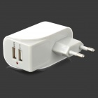 Dual USB Ports AC Power Adapter for iPad/Samsung P1000 + More (AC 100~240V/EU Plug)