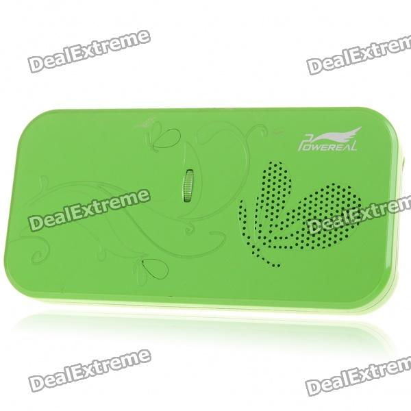 POWEREAL Portable USB Rechargeable Concept Hybrid Paper Cone Resonance Speaker w/ 3.5mm Jack - Green