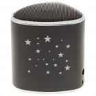 Mini Star Pattern MP3 Music Speaker Player with Blue LED/FM/USB/TF - Black