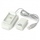 "USB Rechargeable ""4800mAh"" Battery & Charger Set for Xbox 360 Controller - White"