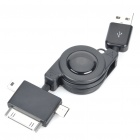 Retractable 3-in-1 USB Data/Charging Cable for Mini USB + Micro USB + iPhone/iPod (Black)