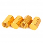 M12(12mm) Universal Fashion Car Tire Valve Caps - Gold (4-Piece Pack)