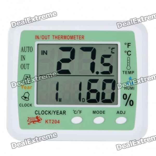 3.9 LCD Digital Indoor/Outdoor Thermometer/Humidity Meter w/ Alarm Clock/Date (1 x AA) indoor air quality pm2 5 monitor meter temperature rh humidity