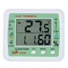 "3.9"" LCD Digital Indoor/Outdoor Thermometer/Humidity Meter w/ Alarm Clock/Date (1 x AA)"