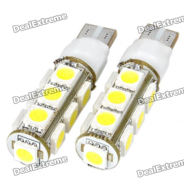 t10-26w-6500k-160-lumen-2-mode-2-mode-13-5050-smd-led-white-light-bulbs-dc-12vpair