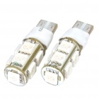 T10 2W 110-Lumen 2-Mode 9-5050 SMD LED Blue Light Bulbs (DC 12V/Pair)