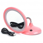 USB Rechargeable Flexible Neck 15-LED White Light Desktop Mirror w/ 3X Magnification for Makeup