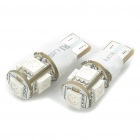 T10 1.5W 5-SMD 5050 LED 60LM 2-Mode 620-625nm Red Light Bulbs for Car (Pair)