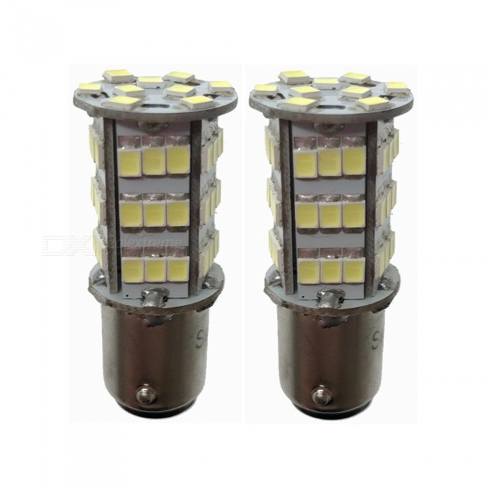 1157 BAY15D 3.25W 6500K 216-Lumen 54x3528 SMD LED White Light Bulbs for Car - Pair (12V)_translate