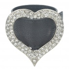 Stylish Heart Style Rhinestone Cow Leather Bracelet - Black + Silver
