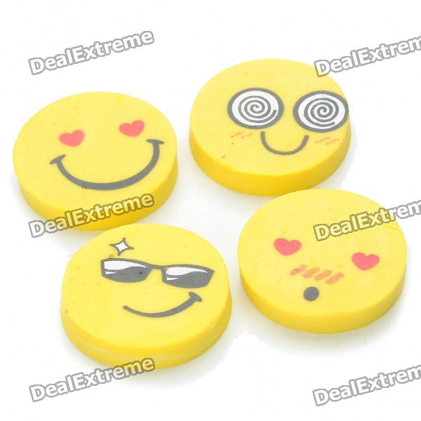 Cute Smile Face Expression Round Erasers - Yellow (4-Piece/Random Style) cute smile face expression round erasers yellow 4 piece random style