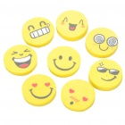 Cute Smile Face Expression Round Erasers - Yellow (4-Piece/Random Style)