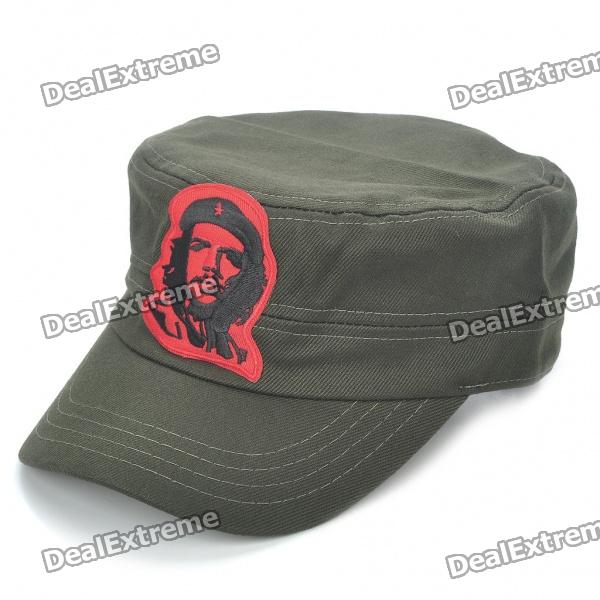 Che Guevara Pattern Flat Top Cotton Fabric Cap Hat - Army Green cowboy hat cap cap flat top hat lace rhinestone flower hooded fashion tide cap cap riding hood