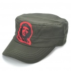 Che Guevara Pattern Flat Top Cotton Fabric Cap Hat - Army Green