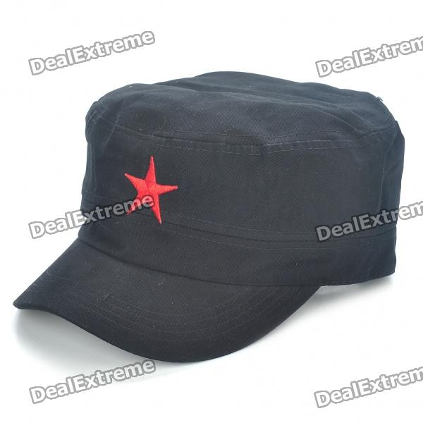 Red Star Pattern Flat Top Cotton Fabric Cap Hat - Black