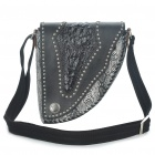 Unique Shaped Snake Skin Pattern One Shoulder Bag - Black