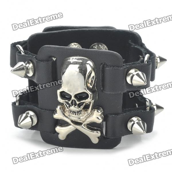 Fashion Skull Head Style Double Rows Rivets PU Leather Bracelet stylish woven cord skull cross leaf cow head turquoise zinc alloy bracelet multicolored