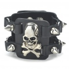 Fashion Skull Head Style Double Rows Rivets PU Leather Bracelet