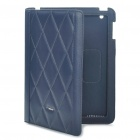 Protective Genuine Leather Case for Apple iPad 2 - Blue