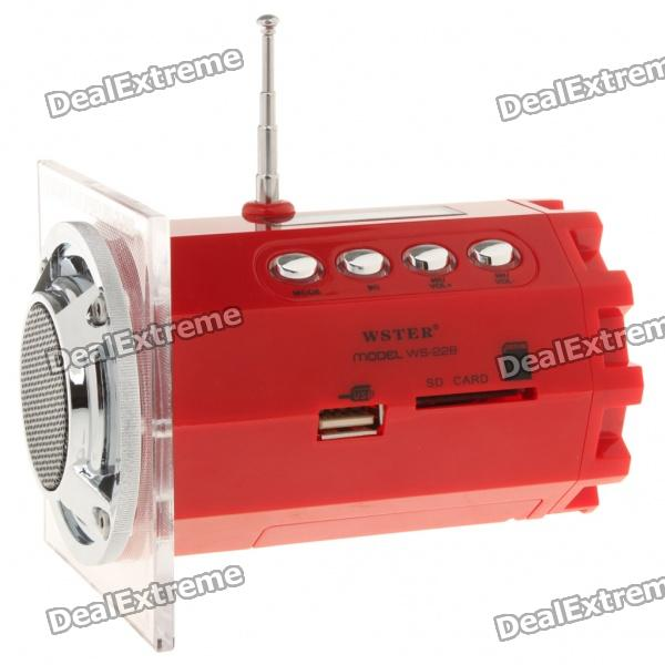Stylish 1.5 LED Portable USB Rechargeable MP3 Player Speaker w/ FM/USB/SD/TF - Red stylish portable mp3 music speaker with fm radio sd slot usb host multi color led white