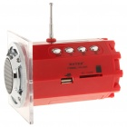 "Stylish 1.5"" LED Portable USB Rechargeable MP3 Player Speaker w/ FM/USB/SD/TF - Red"