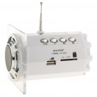 "Stylish 1.5"" LED Portable USB Rechargeable MP3 Player Speaker w/ FM/USB/SD/TF - White"