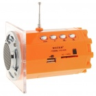 "Stylish 1.5"" LED Portable USB Rechargeable MP3 Player Speaker w/ FM/USB/SD/TF - Orange"