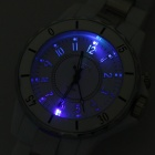 Water Resistant Wrist Watch w/ Colorful LED Light - White (1xSR626SW + 1xCR2016)