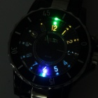 Water Resistant Wrist Watch w/ Colorful LED Light - Black (1xSR626SW + 1xCR2016)