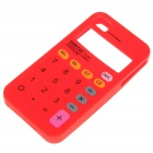 Unique Calculator Style Protective Silicone Back Case for Iphone 4 - Red