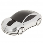 Car Style 2.4GHz Wireless 1200DPI Optical Mouse w/ Receiver - Silver + Black (2 x AAA)