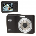 "Aigo V200 12MP CCD Compact Digital Camera Camcorder w/ 3X Optical Zoom/SD Slot - Black (2.7"" LCD)"