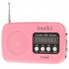 Stylish Mini Rechargeable MP3 Music Speaker Player with FM/USB/SD/MMC/TF Slot - Deep Pink