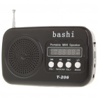 Stylish Mini Rechargeable MP3 Music Speaker Player with FM/USB/SD/MMC/TF Slot - Black