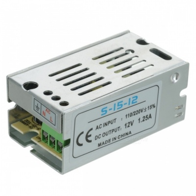 S-15-12 12V 1.25A Regulated Switching Power Supply - Silver (110~220V)