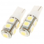 T10 0.84W 9-SMD 5050 LED 170LM 8000K White Light Bulbs for Car (Pair)
