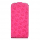 Elegant Protective Flower Pattern PU Leather Cover Case for Iphone4 - Deep Pink