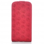 Elegant Protective Flower Pattern PU Leather Cover Case for Iphone4 - Bright Red