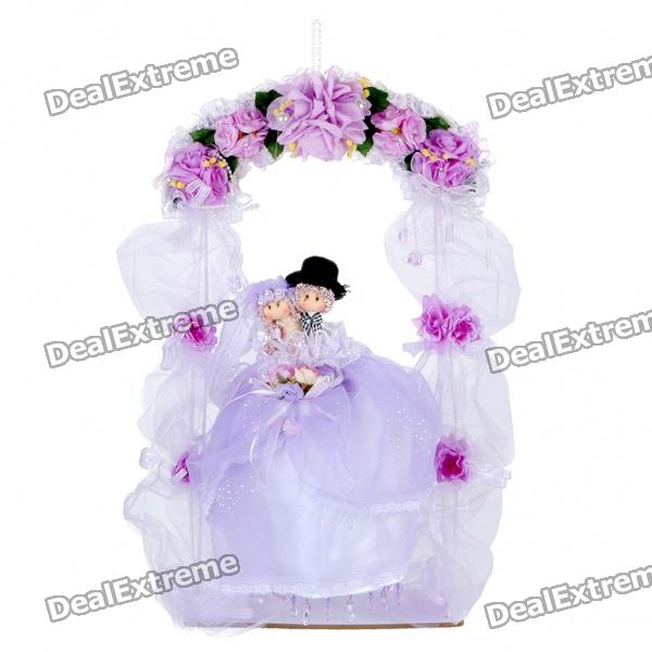 Lovely Wedding Couple Sit on Swing Pendant Toy for Decoration