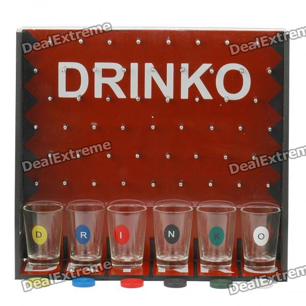 Drinko Shot Drinking Wine Table Game Set - Black + Red + Transparent lucky shot drinking roulette game 6 cup set